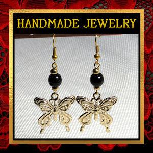 Golden Butterfly & Black Agate Earrings  #311